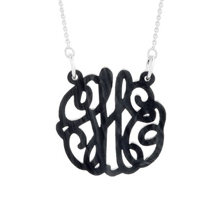 Black Marble Acrylic Monogram Necklace