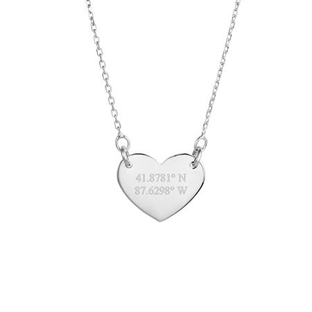 Custom Coordinate Silver Heart Necklace