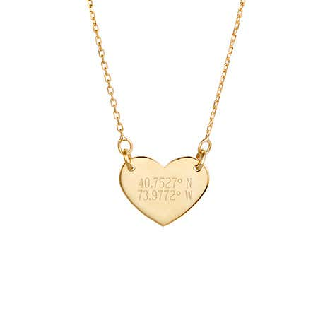 Custom Coordinate Gold Heart Necklace