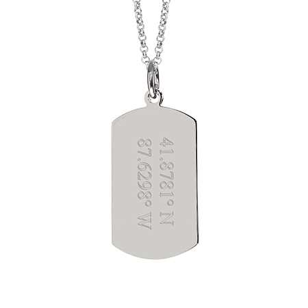 Custom Coordinate Steel Dog Tag Necklace