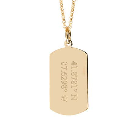 Custom Coordinate Gold Plated Dog Tag Necklace