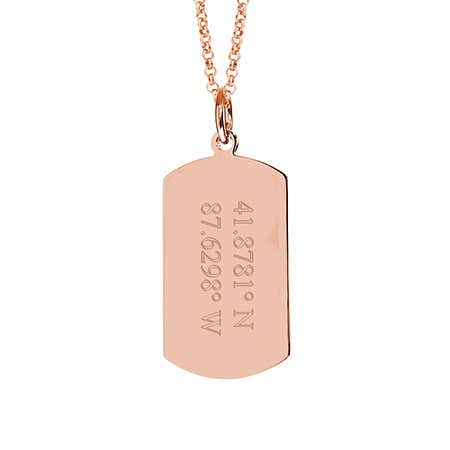 Custom Coordinate Rose Gold Dog Tag Necklace