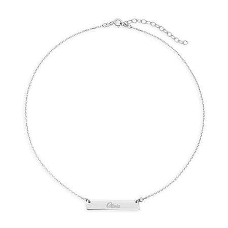 Custom Name Bar Silver Choker Necklace