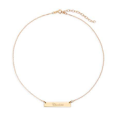 Engravable Bar Gold Choker Necklace