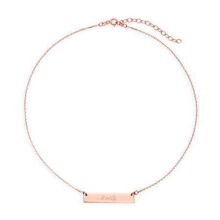 Custom Rose Gold Name Bar Choker Necklace