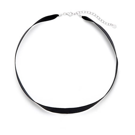 Simple Black Ribbon Choker Necklace