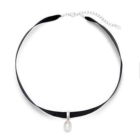 Black Ribbon Pearl Choker