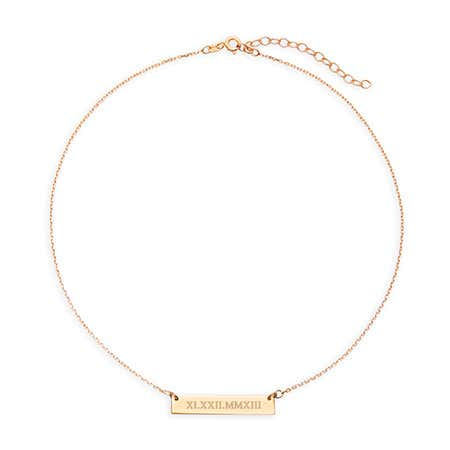 display slide 1 of 1 - Roman Numeral Gold Name Bar Choker Necklace - selected slide