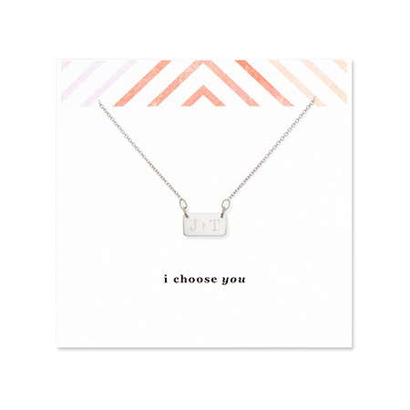 display slide 1 of 2 - I Choose You Couples Initial Silver Bar Necklace - selected slide