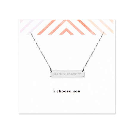 I Choose You Coordinate Silver Bar Necklace