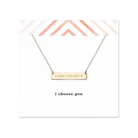 I Choose You Coordinate Gold Bar Necklace
