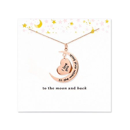 To The Moon and Back Rose Gold Necklace with Card