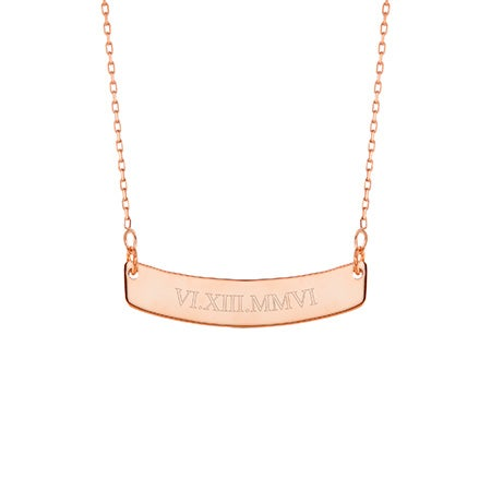 Roman Numeral Rose Gold Curved Name Bar Necklace