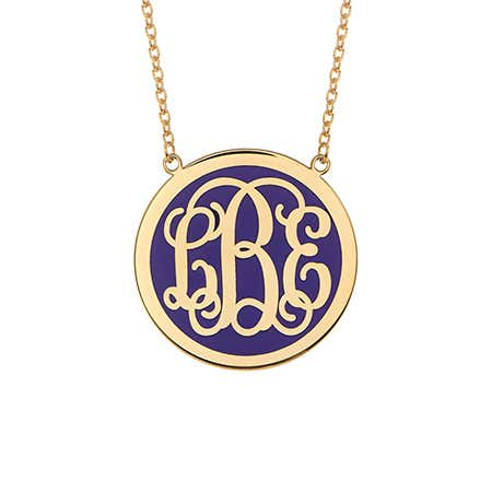 Enamel Script Monogram Gold Disc Necklace