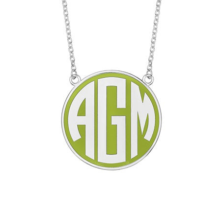 Enamel Block Large Disc Monogram in Silver