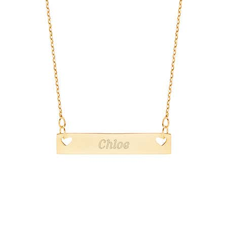 Engravable Double Heart Gold Name Bar Necklace