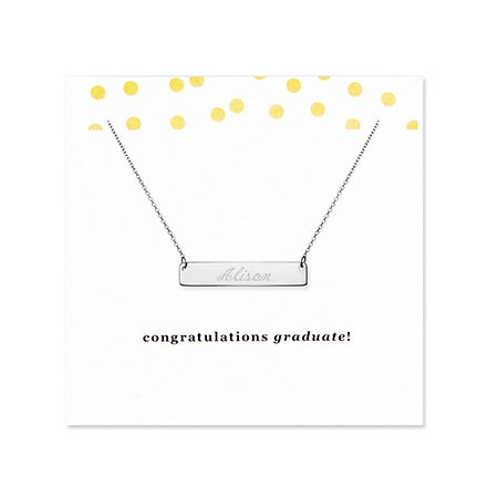 Graduation Sterling Silver Name Bar Necklace