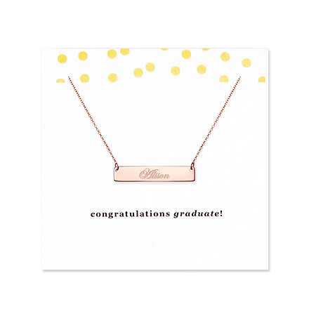 Graduation Rose Gold Name Bar Necklace