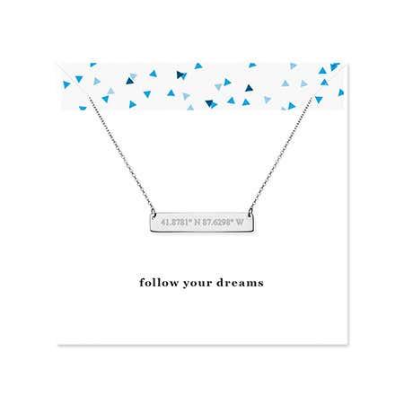 Follow Your Dreams Custom Coordinate Silver Name Bar Necklace