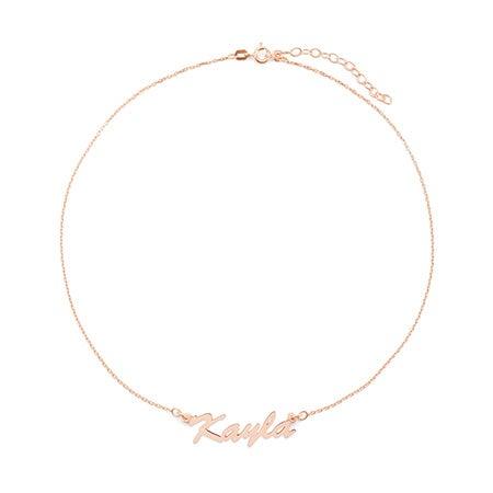 Custom Thin Script Rose Gold Name Choker