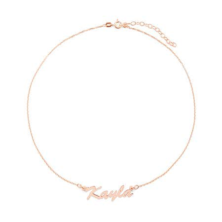 display slide 1 of 3 - Custom Thin Script Rose Gold Name Choker - selected slide