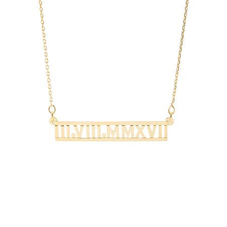 Custom Cut-Out Roman Numeral Gold Necklace