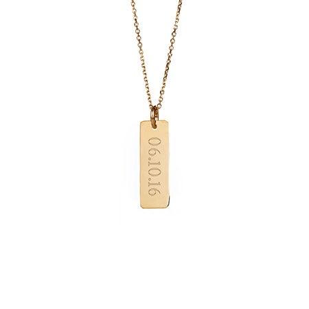 Custom Date Petite Vertical Gold Bar Necklace