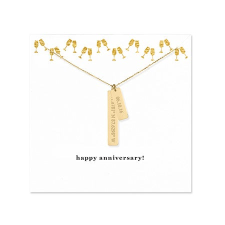Anniversary Coordinate & Date Gold Bar Necklace