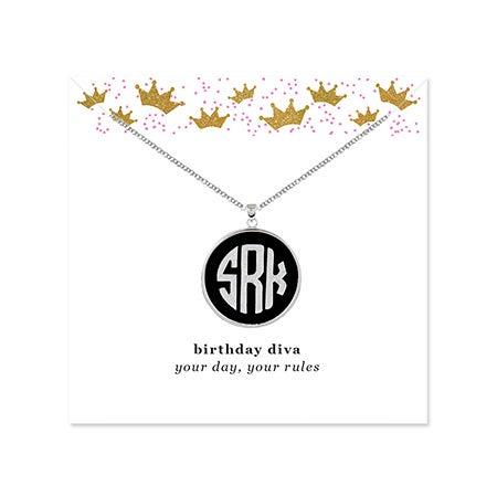 Birthday Acrylic Monogram Silver Bezel Pendant