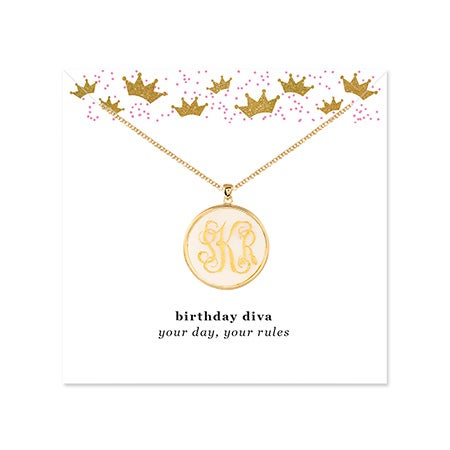Birthday Acrylic Monogram Round Disc Necklace