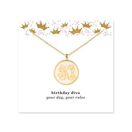 Birthday Acrylic Monogram Round Disc Necklace