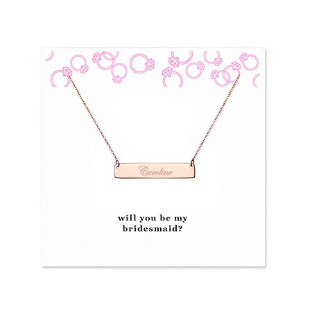 Bridesmaid Rose Gold Name Bar Necklace