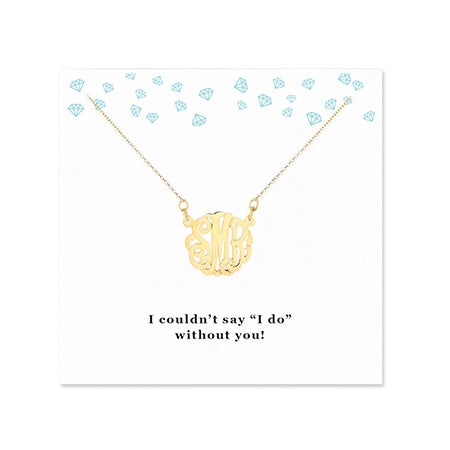 gold bridesmaid monogram necklace and jewelry for bridesmaid gifts