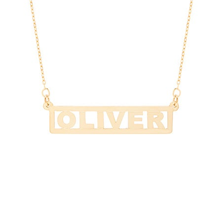 Custom Bar Nameplate Gold Necklace