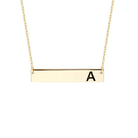Initial Gold Name Bar Necklace