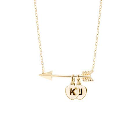 Initial Heart Charm Gold Arrow Necklace