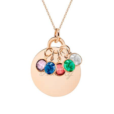 Custom Birthstone Mother's Rose Gold Round Charm Necklace