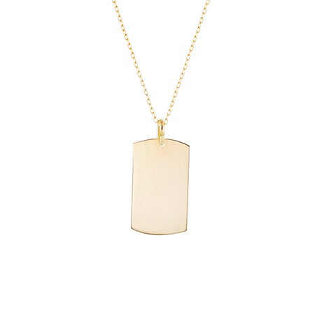 Engravable 14K Gold Dog Tag Necklace