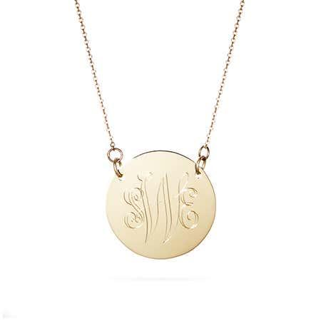 Engravable 14K Gold Disc Charm Necklace