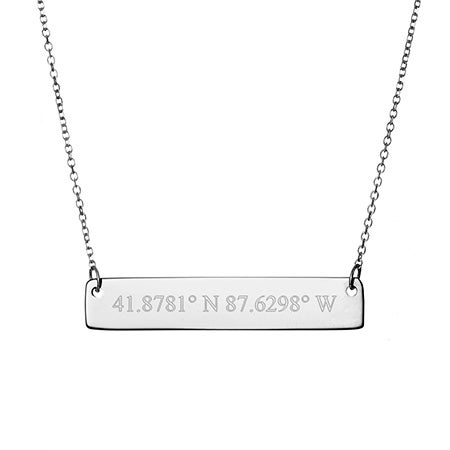 14K White Gold Coordinate Bar Necklace