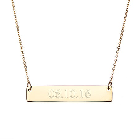 14K Gold Engravable Date Bar Necklace