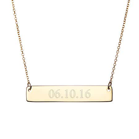 14K Gold Engravable Date Bar Necklace