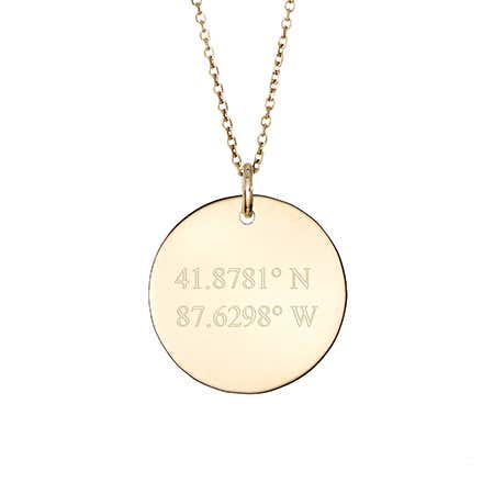 Coordinate 14K Gold Round Charm Necklace