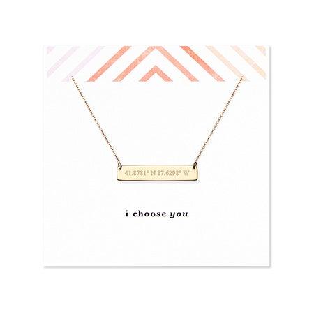 I Choose You Coordinate 14K Gold Bar Necklace