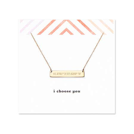 I Choose You Coordinate 14K Gold Bar Necklace
