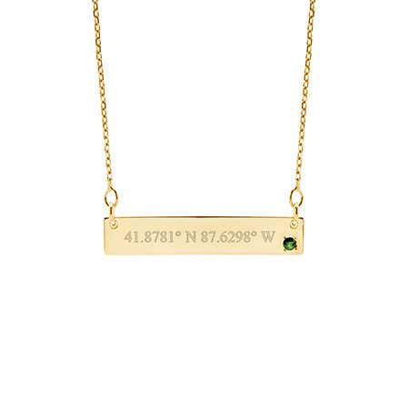 14K Gold Coordinate Birthstone Bar Necklace