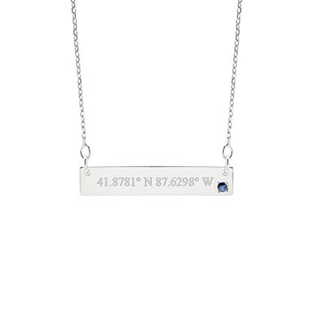 Custom Coordinate 14K White Gold Birthstone Bar Necklace