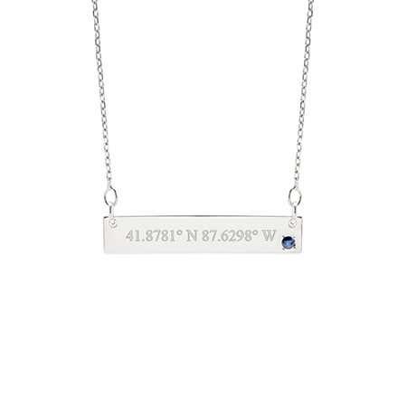 Custom Coordinate 14K White Gold Birthstone Bar Necklace