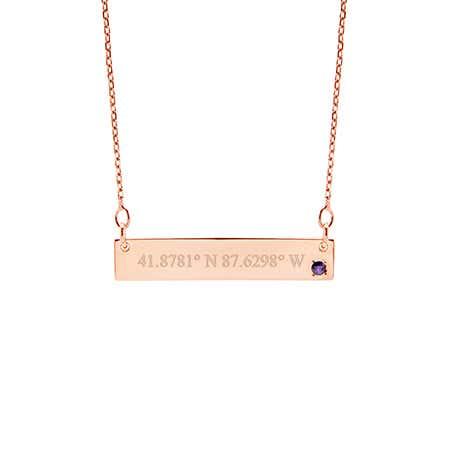 Custom Coordinate 14K Rose Gold Birthstone Bar Necklace