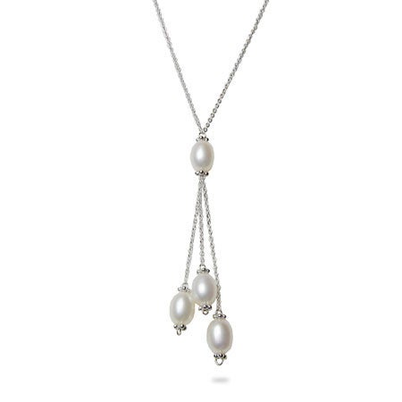 Dangling White Freshwater Pearls Silver Necklace